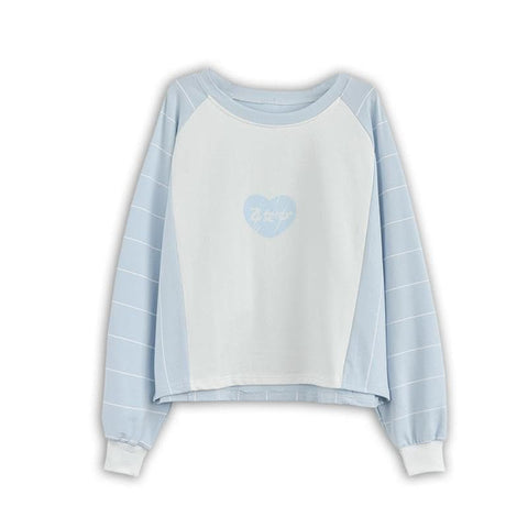 M/L Pink/Light Blue Kwaii Heart Printing Jumper SP168052