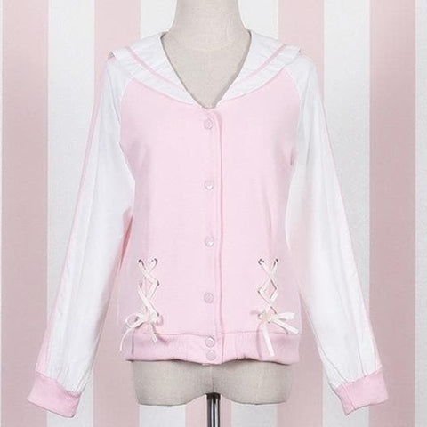 M/L Pink Sailor Collar Baseball Top SP167889