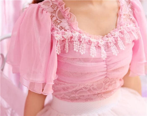 M/L White/Pink Elegant Lace Tee SP166793