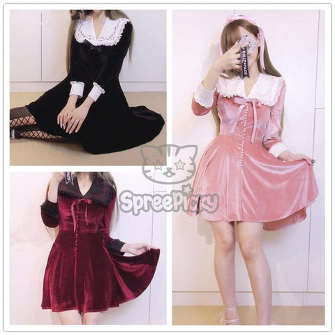 M/L Wine/Black/Pink Sweet Dolly Dress SP178722