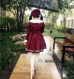 M/L Wine/Navy Lolita Stripe Dress SP164768 - SpreePicky  - 4