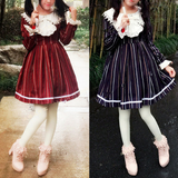 M/L Wine/Navy Lolita Stripe Dress SP164768 - SpreePicky  - 1