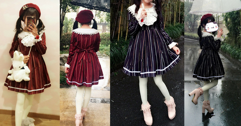 M/L Wine/Navy Lolita Stripe Dress SP164768 - SpreePicky  - 2