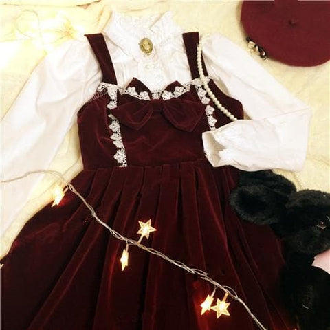 M/L Wine Lolita Demitoilet JSK Dress SP164767 - SpreePicky  - 6
