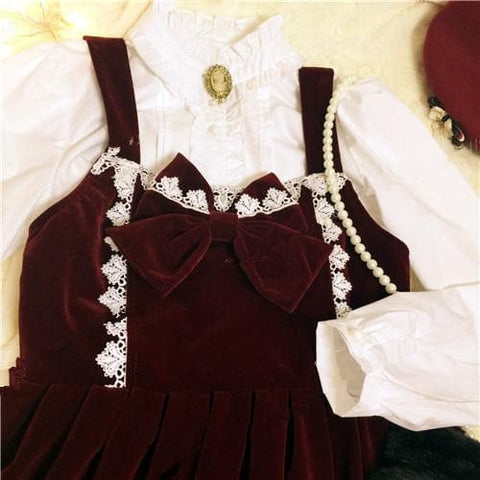 M/L Wine Lolita Demitoilet JSK Dress SP164767 - SpreePicky  - 7
