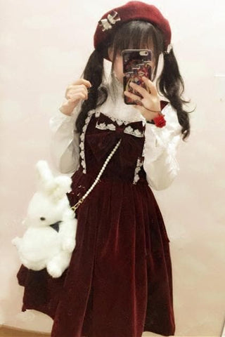 M/L Wine Lolita Demitoilet JSK Dress SP164767 - SpreePicky  - 3