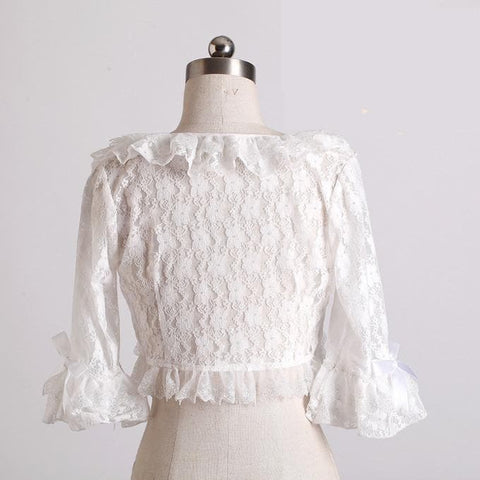M/XL White Lovely Lace Falbala Summer Flare Sleeve Cardigan Coat SP165911