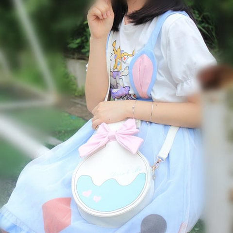 Milk White Kawaii Bottle Bowknot Shoulder Bag SP166763