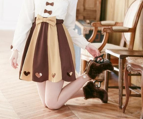 [Do You Want Some Chocolate] Heart Cut Out Skirt SP165921