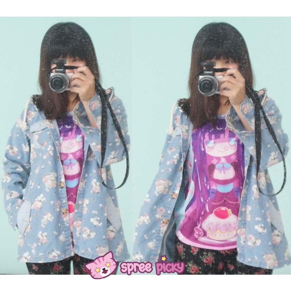 Mori Girl Floral Jeans Loose Hoodie Coat Jacket SP151642 - SpreePicky  - 1
