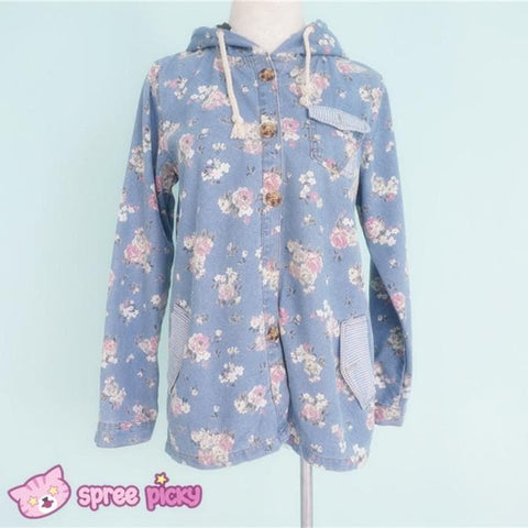 Mori Girl Floral Jeans Loose Hoodie Coat Jacket SP151642 - SpreePicky  - 2
