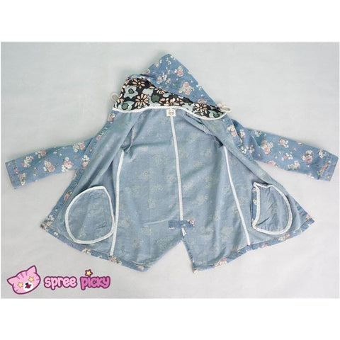 Mori Girl Floral Jeans Loose Hoodie Coat Jacket SP151642 - SpreePicky  - 6