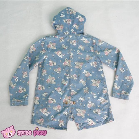 Mori Girl Floral Jeans Loose Hoodie Coat Jacket SP151642 - SpreePicky  - 5