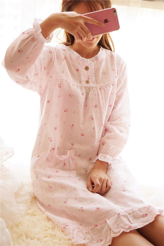 Mori Girl Pastel Floral Home Wear Pajamas Dress SP164916 - SpreePicky  - 3