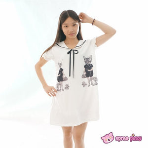 Mori Girl Vintage Funny Cats Sailor Collar Oversize Long T-shirt Dress SP152030 - SpreePicky  - 2