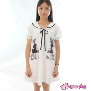 Mori Girl Vintage Funny Cats Sailor Collar Oversize Long T-shirt Dress SP152030 - SpreePicky  - 3
