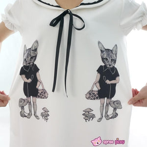 Mori Girl Vintage Funny Cats Sailor Collar Oversize Long T-shirt Dress SP152030 - SpreePicky  - 5