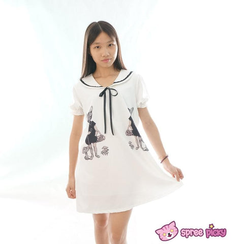 Mori Girl Vintage Funny Cats Sailor Collar Oversize Long T-shirt Dress SP152030 - SpreePicky  - 1