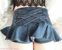 Load image into Gallery viewer, S/M/L My Ruffle Mini Denim Pant-Skirt SP152217 - SpreePicky  - 7