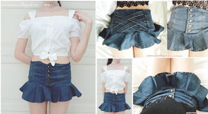 S/M/L My Ruffle Mini Denim Pant-Skirt SP152217 - SpreePicky  - 3