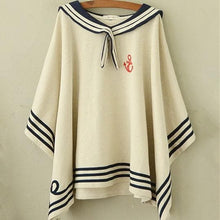 Load image into Gallery viewer, Navy/Beige Simple Sailor Loose Cape Coat SP153451 - SpreePicky  - 4