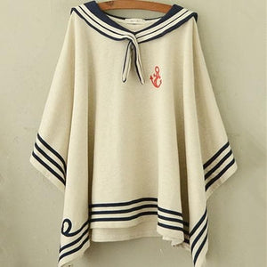 Navy/Beige Simple Sailor Loose Cape Coat SP153451 - SpreePicky  - 4