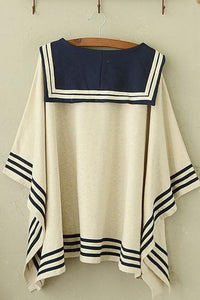 Navy/Beige Simple Sailor Loose Cape Coat SP153451 - SpreePicky  - 5