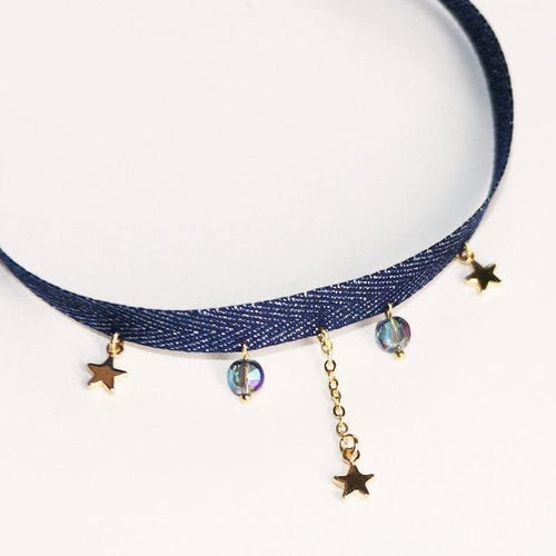 Navy/Black/Pink Kawaii Star Space Choker SP1812405