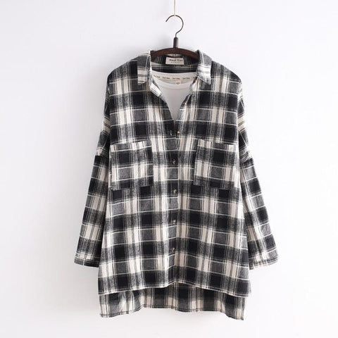 Navy/Black Korean Style Student Lattice Shirt SP154034 - SpreePicky  - 4