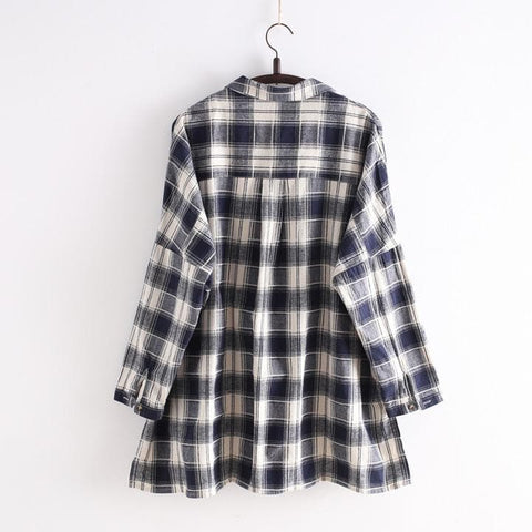 Navy/Black Korean Style Student Lattice Shirt SP154034 - SpreePicky  - 3