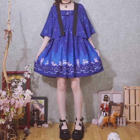 Navy/Pink/Light Blue Star Angel Sakura Galaxy Printing Dress/Kimono Coat SP168061