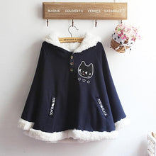 Load image into Gallery viewer, Navy/Red/Grey Sweet Girl Cutie Cat Cape Coat SP153479 - SpreePicky  - 7