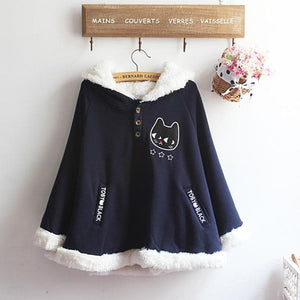 Navy/Red/Grey Sweet Girl Cutie Cat Cape Coat SP153479 - SpreePicky  - 7