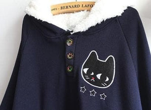 Navy/Red/Grey Sweet Girl Cutie Cat Cape Coat SP153479 - SpreePicky  - 10