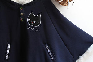 Navy/Red/Grey Sweet Girl Cutie Cat Cape Coat SP153479 - SpreePicky  - 11