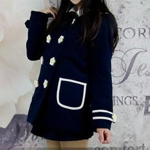 Navy/White Daisy Flowers Coat SP153806/Pant-skirt SP154355 - SpreePicky  - 7