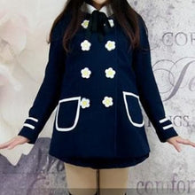 Load image into Gallery viewer, Navy/White Daisy Flowers Coat SP153806/Pant-skirt SP154355 - SpreePicky  - 6
