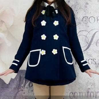 Navy/White Daisy Flowers Coat SP153806/Pant-skirt SP154355 - SpreePicky  - 6