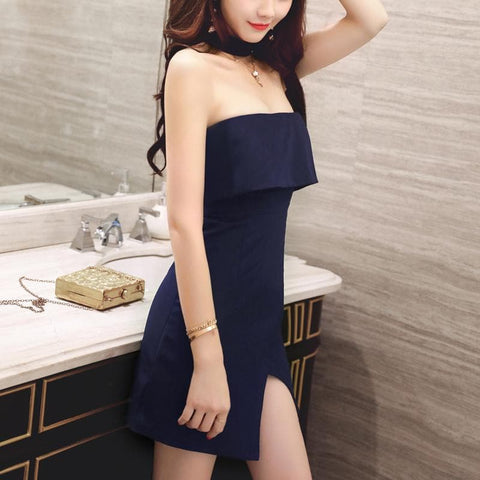 Navy/Wine Falbala Boob Tube Dress SP1811944