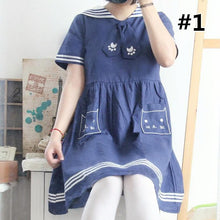 Load image into Gallery viewer, Navy Blue/White Sailor Long Sleeve/Short Sleeve Dress SP166686