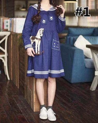 Navy Blue/White Sailor Long Sleeve/Short Sleeve Dress SP166686