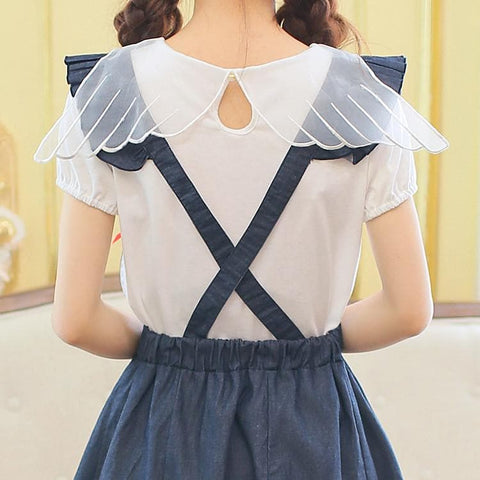 Navy Cute Bowknot Suspender Denim Skirt SP152920 - SpreePicky  - 5
