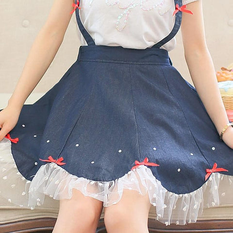 Navy Cute Bowknot Suspender Denim Skirt SP152920 - SpreePicky  - 6