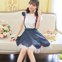 Load image into Gallery viewer, Navy Cute Bowknot Suspender Denim Skirt SP152920 - SpreePicky  - 2