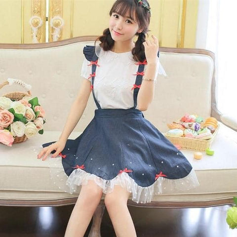 Navy Cute Bowknot Suspender Denim Skirt SP152920 - SpreePicky  - 2