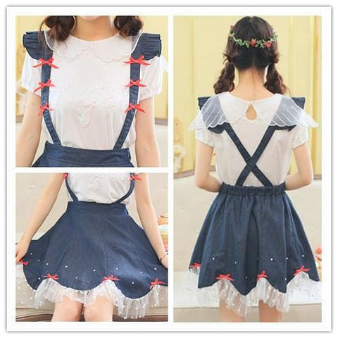 Navy Cute Bowknot Suspender Denim Skirt SP152920 - SpreePicky  - 4