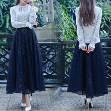 Load image into Gallery viewer, Navy Vintage Floral Maxi Skirt SP179029