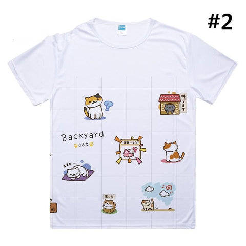 [Neko Atsume] S-3XL White Kawaii Neko Cat T-Shirt SP165328