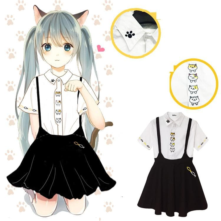 S-XL Neko Atsume Shirt and Suspender Skirt Outfit Set SP165716