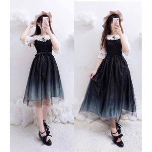 {Free Shipping }Galaxy Blue/Black Starry Fairy Dress SP179990